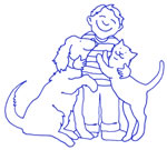Boy with dog and cat graphic.